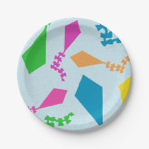 Bright and Colorful Flying Kites Pattern Paper Plate