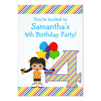 Bright and Colorful Girls 4th Birthday Party Card