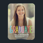 """Bright and Colorful Graduation Announcement Magnet<br><div class=""""desc"""">Unique,  modern,  and full of personality,  this stylish magnet proudly announce this important milestone.  Visit our website at www.berryberrysweet.com for more design options!</div>"""