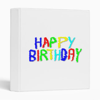 Bright and Colorful. Happy Birthday. 3 Ring Binder