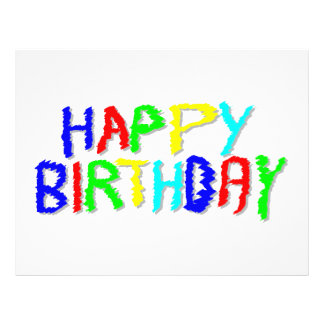 """Bright and Colorful. Happy Birthday. 8.5"""" X 11"""" Flyer"""
