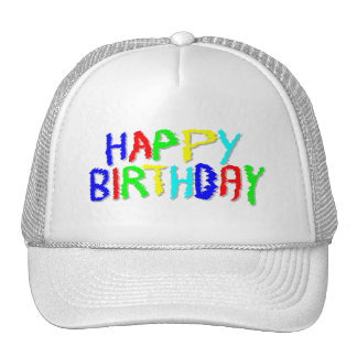 Bright and Colorful. Happy Birthday. Mesh Hats