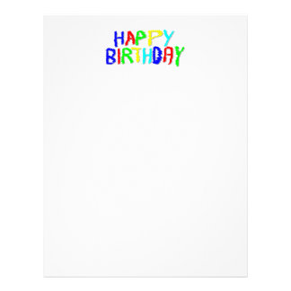 Bright and Colorful. Happy Birthday. Custom Letterhead