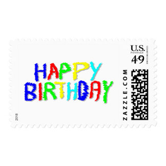 Bright and Colorful. Happy Birthday. Postage Stamp
