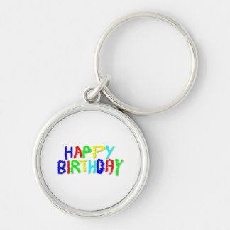 Bright and Colorful. Happy Birthday. Silver-Colored Round Keychain