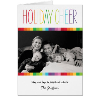 Bright and Colorful Holiday Photo Card Card