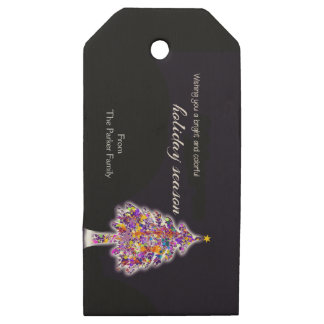 Bright and Colorful Holiday Wooden Gift Tags