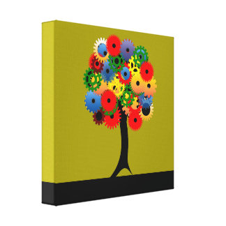 Bright and Colorful Mechanical Gear Tree Canvas Print