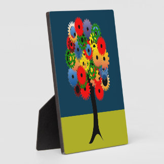 Bright and Colorful Mechanical Gear Tree Plaque