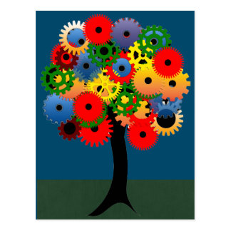 Bright and Colorful Mechanical Gear Tree Postcard