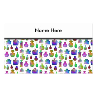 Bright and Colorful Perfume Bottles Pattern. Business Card Templates