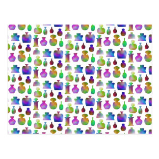 Bright and Colorful Perfume Bottles Pattern. Postcard