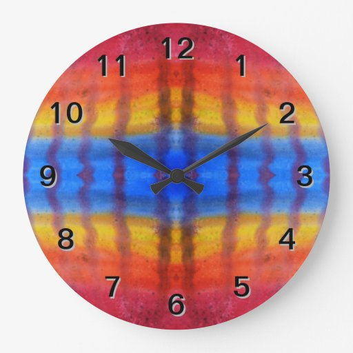 Bright and Colorful. Red, Blue and Yellow Pattern. Wall Clock
