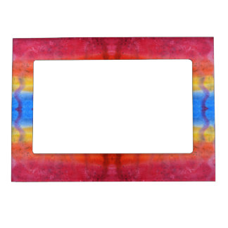 Bright and Colorful. Red, Blue and Yellow Pattern. Magnetic Picture Frame