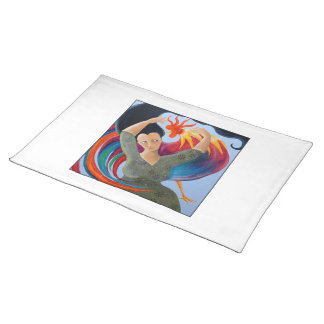 Bright and Colorful Rooster, and Woman. Cloth Placemat
