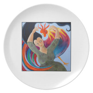 Bright and Colorful Rooster, and Woman. Melamine Plate