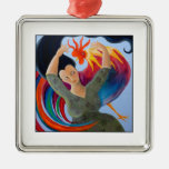Bright and Colorful Rooster, and Woman. Christmas Tree Ornaments