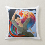 Bright and Colorful Rooster, and Woman. Throw Pillow