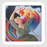 Bright and Colorful Rooster, and Woman. Square Stickers