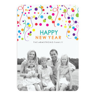 Bright and Fun Confetti New Years Photocards Card