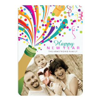 Bright and Fun New Years Photo Cards