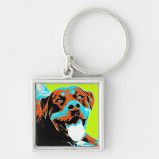 Bright and Fun Rottweiler Portrait Keychain