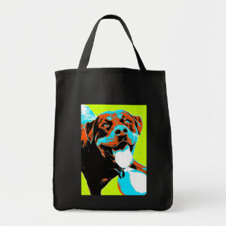 Bright and Fun Rottweiler Portrait Tote Bag