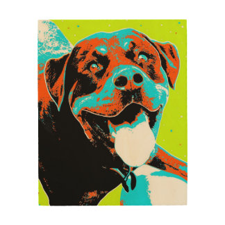 Bright and Fun Rottweiler Portrait Wood Wall Decor