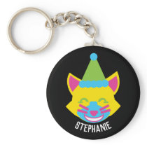 Bright and Happy Cat Personalized Keychain