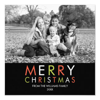 Bright and Merry Christmas Photo Card -black