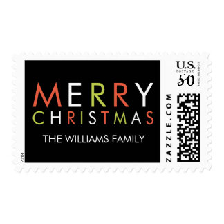 Bright and Merry Christmas Stamp-black Postage