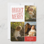 "Bright and Merry Modern Minimal Christmas Photo Holiday Card<br><div class=""desc"">Bright and Merry modern minimalist red typography,  holiday photo card. Card features,  3 photo collage,  simple red and white plaid pattern backing and three template text lines for your greeting,  name and year.</div>"