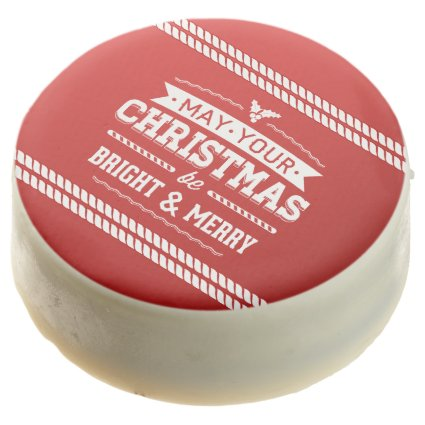 Bright and Merry Red Christmas Greeting Chocolate Covered Oreo