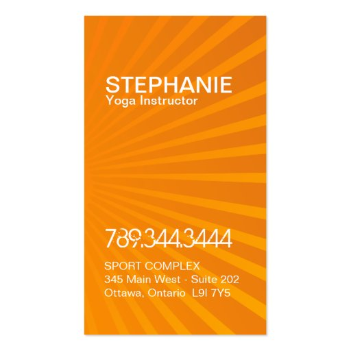 Bright and Modern Yoga Business Cards (back side)