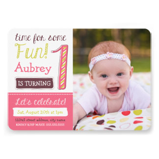 Bright and Pink 1st Birthday Invites