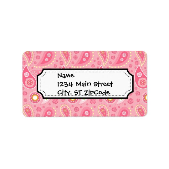 Bright and Pretty Pink Paisley Pattern Label