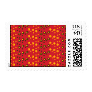 Bright and Trendy Red Orange and Brown Circles Postage