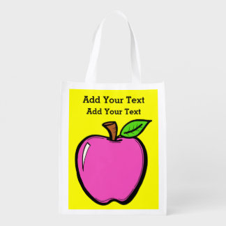 Bright Apples Grocery, Gift, Favor Bag - SRF Grocery Bags