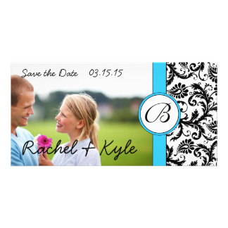 Bright Aqua Black Damask Save the Date Your Photo Personalized Photo Card
