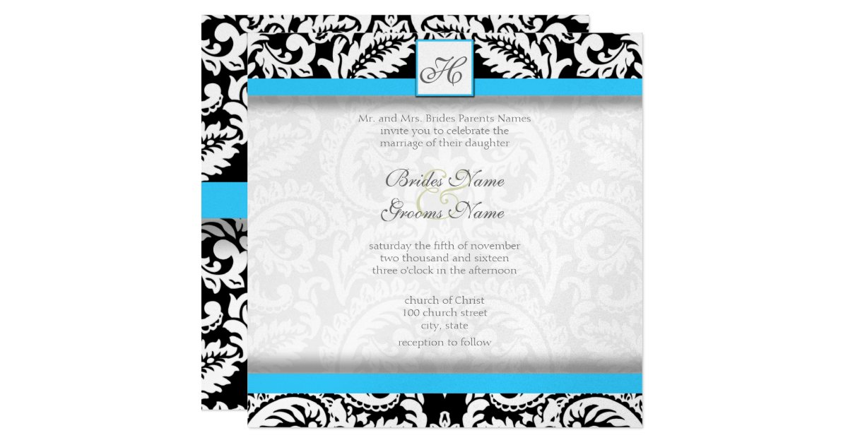 Bright Wedding Invitations: Bright Aqua Black Silver Wedding Invitations
