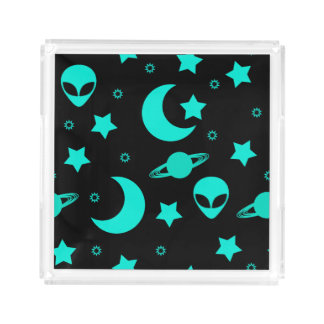 Bright Aqua Blue Alien Heads in Outer Space Square Serving Trays