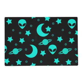 Bright Aqua Blue Alien Heads in Outer Space Placemat