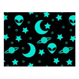Bright Aqua Blue Alien Heads in Outer Space Postcard