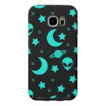 Bright Aqua Blue Alien Heads in Outer Space Samsung Galaxy S6 Case