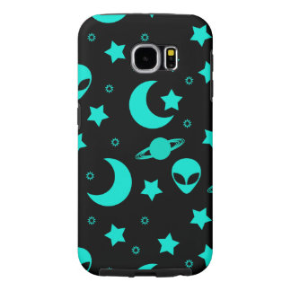 Bright Aqua Blue Alien Heads in Outer Space Samsung Galaxy S6 Case