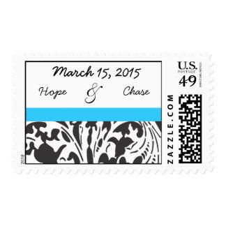 Bright Aqua Blue & Black Damask Wedding Stamp