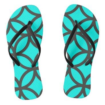 Beach Themed Bright Aqua Blue Circle Pattern Flip Flops