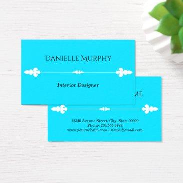 Professional Business Bright Aqua Blue Design Business Card