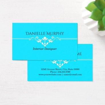 Professional Business Bright Aqua Blue Designer Business Card