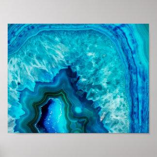 Bright Aqua Blue Geode Mineral Stones Poster
